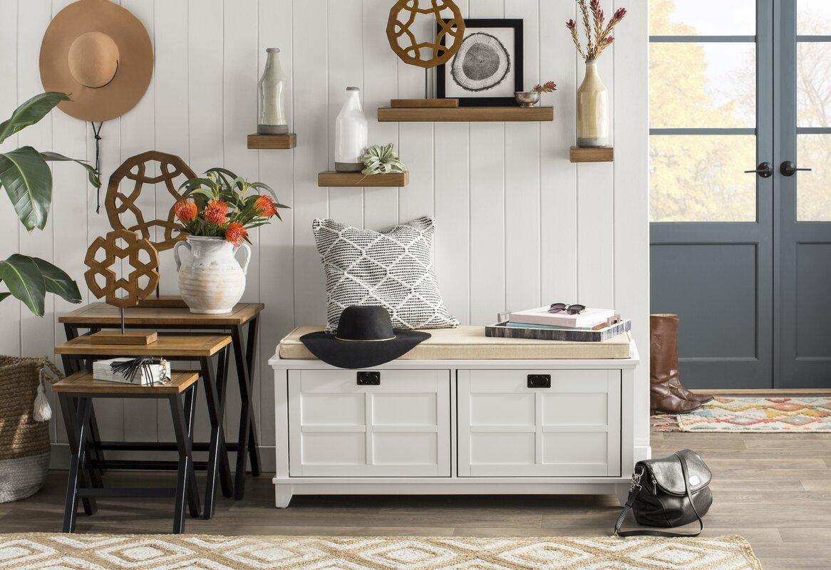 Beachcrest Home Lexie Fabric Storage Bench & Reviews   Wayfair