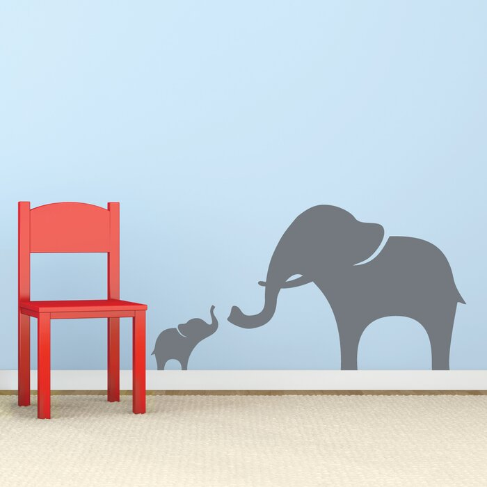 Wallums Wall Decor Mama And Baby Elephant Wall Decal Reviews - Elephant wall decals