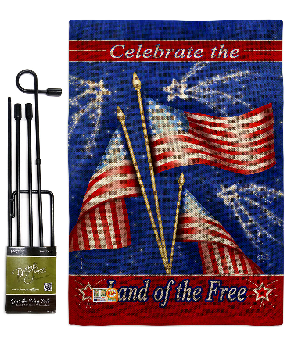 4th Of July Americana Fourth Impressions 2 Sided Polyester 18 5 X 13 In Flag Set