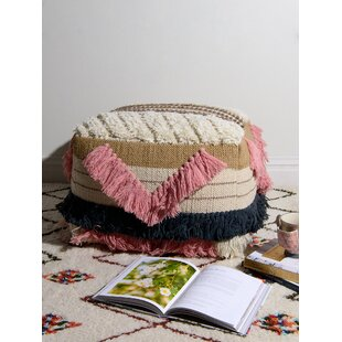 Merwin Fringe Pouf by Bungalow Rose