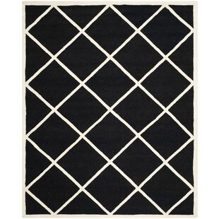 Best Reviews Darla Hand-Tufted Wool Black/White Area Rug By Winston Porter