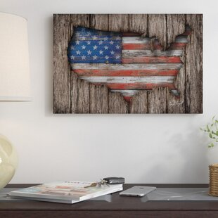 U0027American Wood Flagu0027 Graphic Art On Wrapped Canvas