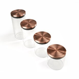 4 Piece Glass Kitchen Canister Set
