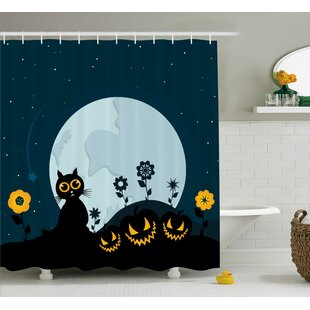 Cat Kitty Under Moon Halloween Shower Curtain + Hooks