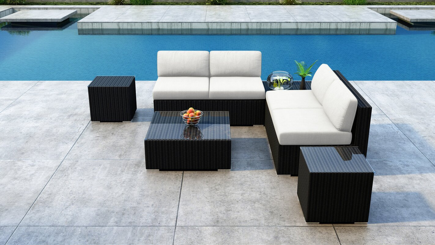 Everly Quinn Glendale 7 Piece Rattan Sectional Seating Group with Sunbrella Cushions
