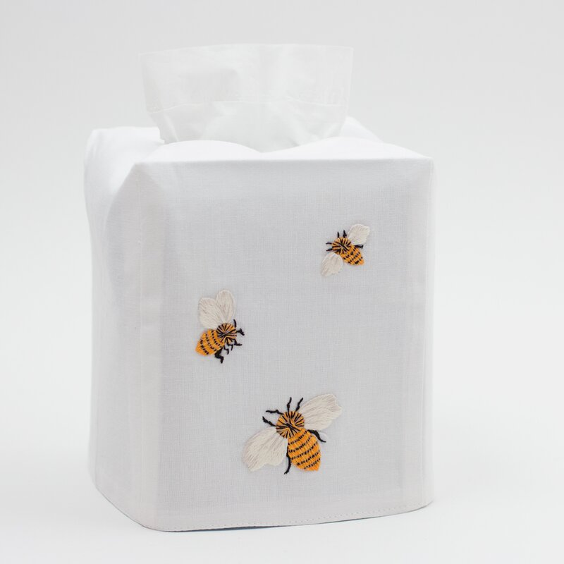 August Grove Libby Bees Embroidered Tissue Box Cover Wayfair