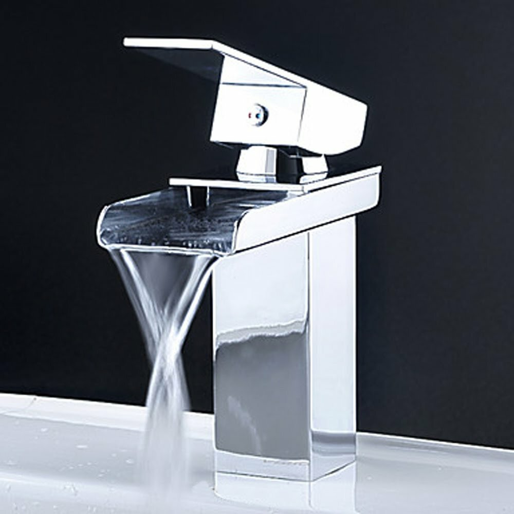 Bathroom sinks faucets - Kokols Single Handle Single Hole Waterfall Bathroom Sink Faucet