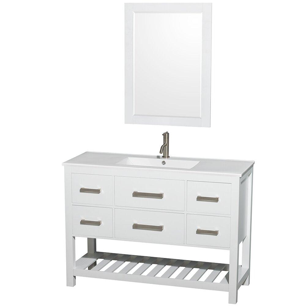 Wyndham Collection Natalie  Single White Bathroom Vanity Set - White bathroom vanity with sink