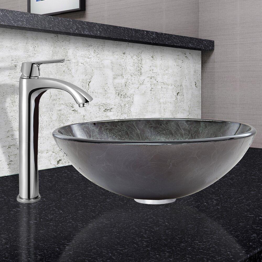 Vigo Grey Onyx Glass Circular Vessel Bathroom Sink