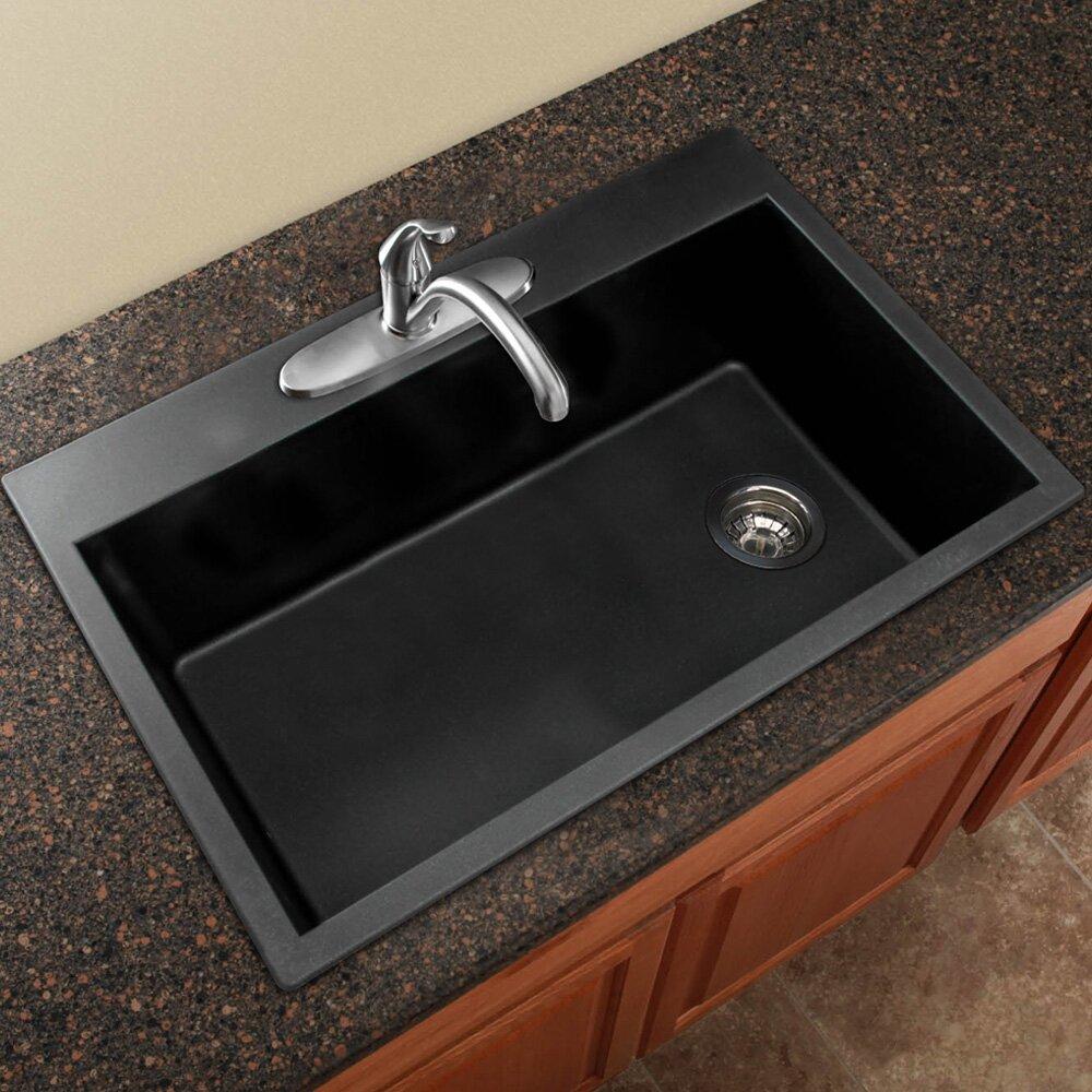 radius 33 x 22 granite single bowl drop in kitchen sink - Kitchen Sink Drop In