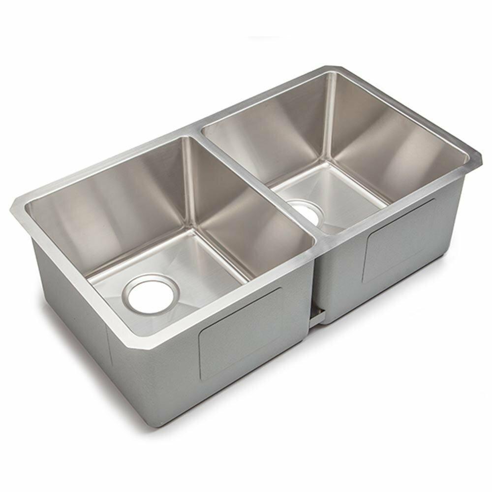chef series 32 x 18 double bowl undermount kitchen sink - Kitchen Sink Double