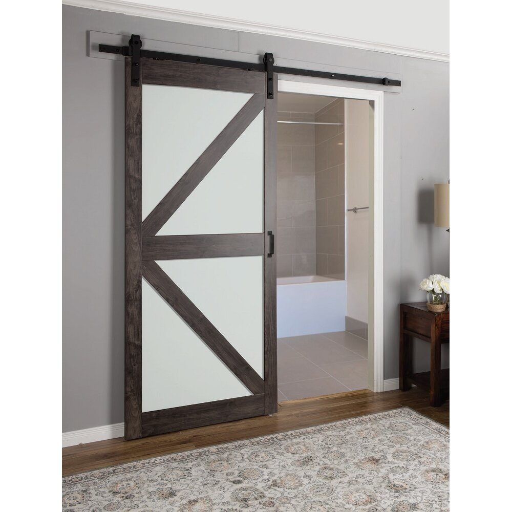 Interior frosted glass door - Continental Frosted Glass 1 Panel Ironage Laminate Interior Barn Door