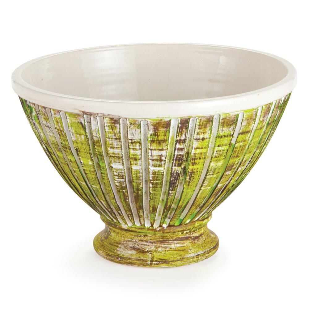 Brayden Studio Round Tan Taupe Footed Decorative Bowl