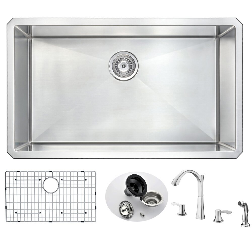 vanguard 32 x 19 single bowl undermount kitchen sink and faucet set with drain - Kitchen Sink And Faucet Sets