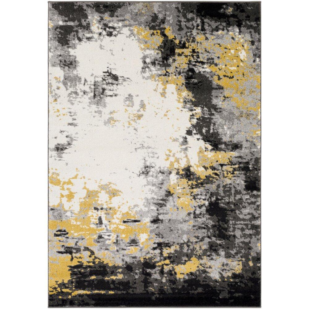 Varick Gallery Shuff Charcoal Mustard Yellow Grey Area Rug