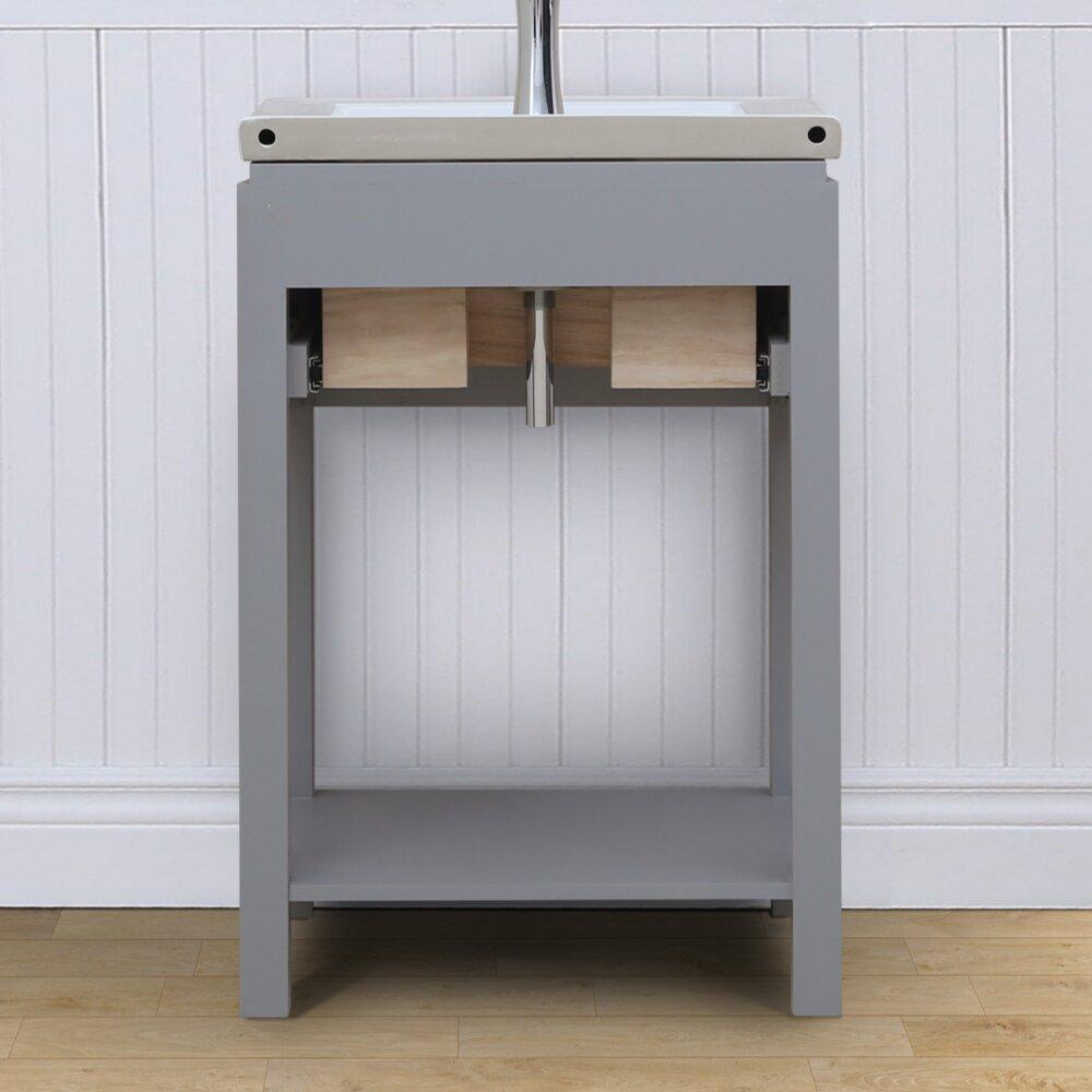 Open Shelf Vanity Bathroom Infurniture 24 Single Bathroom Vanity Set With Open Shelf Wayfair