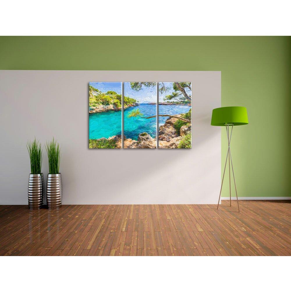 home loft concept 3 tlg leinwandbilder set idyllische ansicht des mittelmeers am mallorca bay. Black Bedroom Furniture Sets. Home Design Ideas