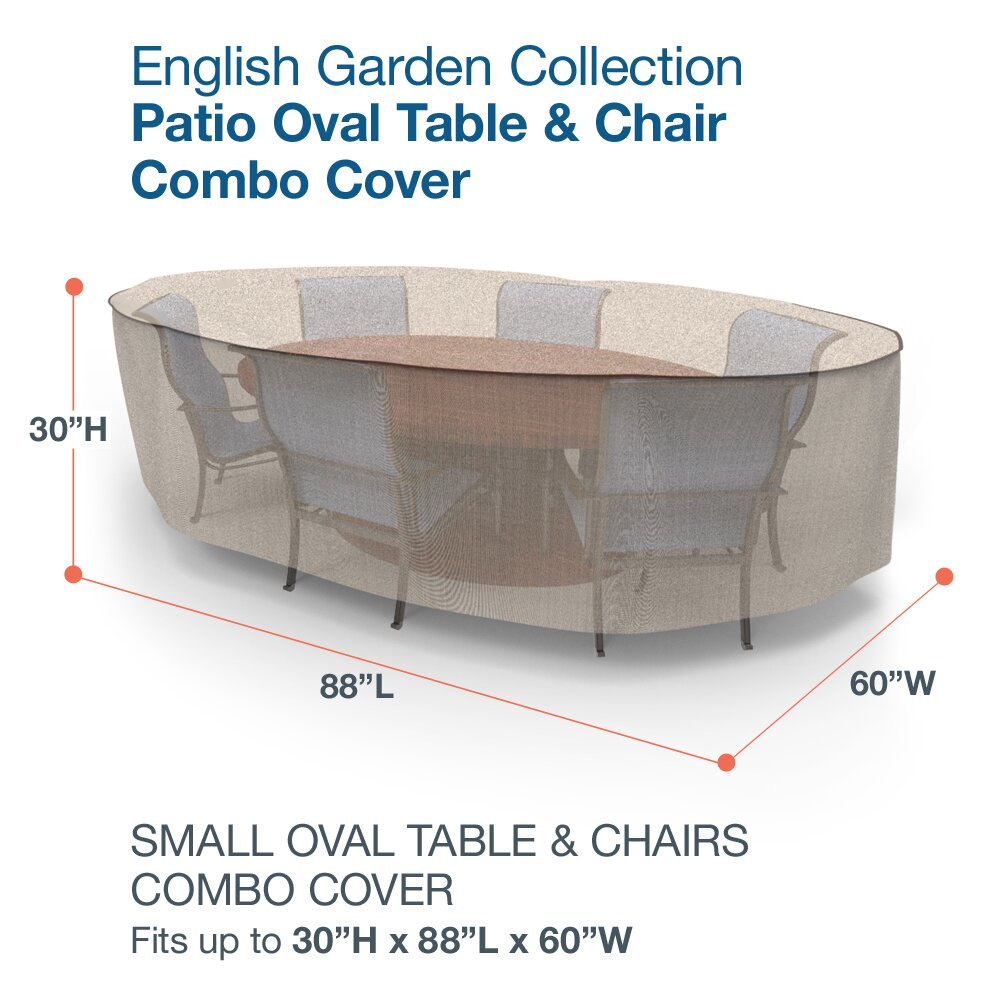 BudgeIndustries English Garden Oval Patio Table and Chairs bo Cover