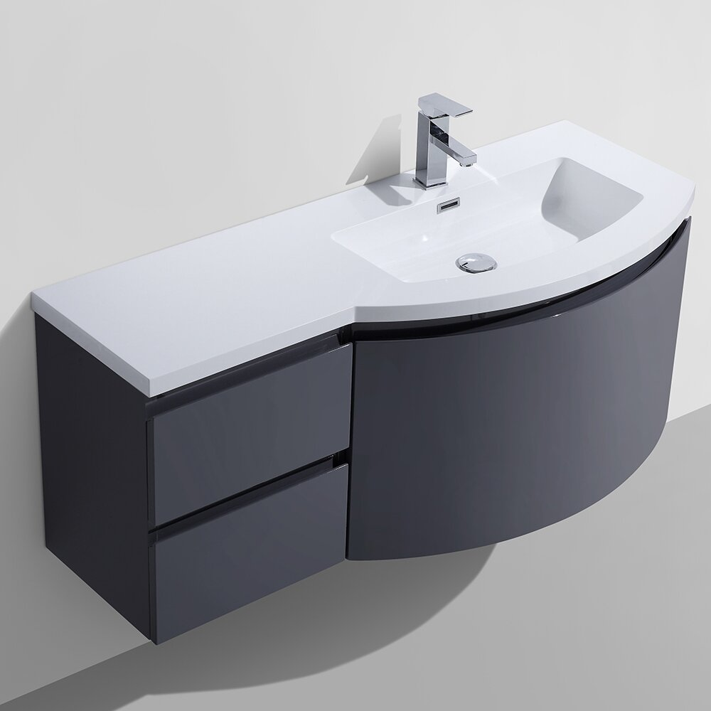 Wade Logan Waldwick  Single Wall Mount Modern Bathroom Vanity - White modern bathroom vanity