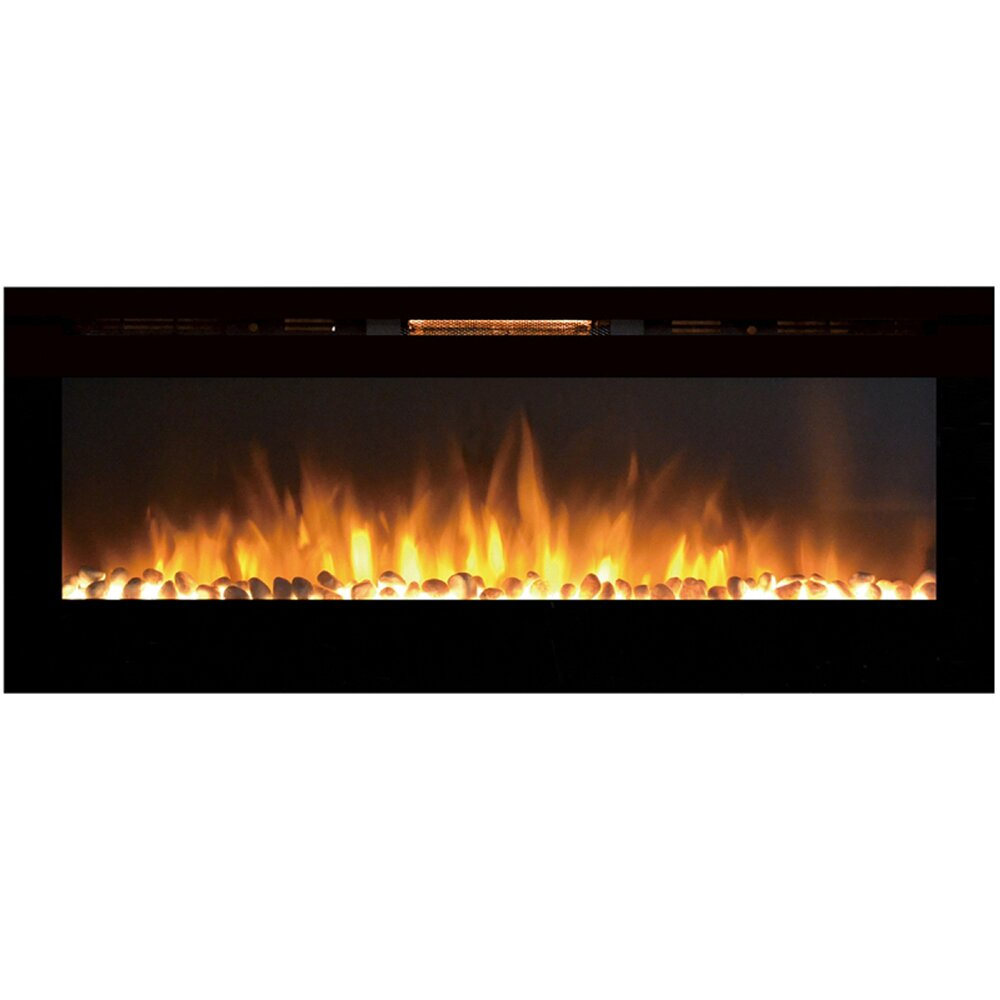 Orren Ellis Clement Wall Mount Metal Electric Fireplace