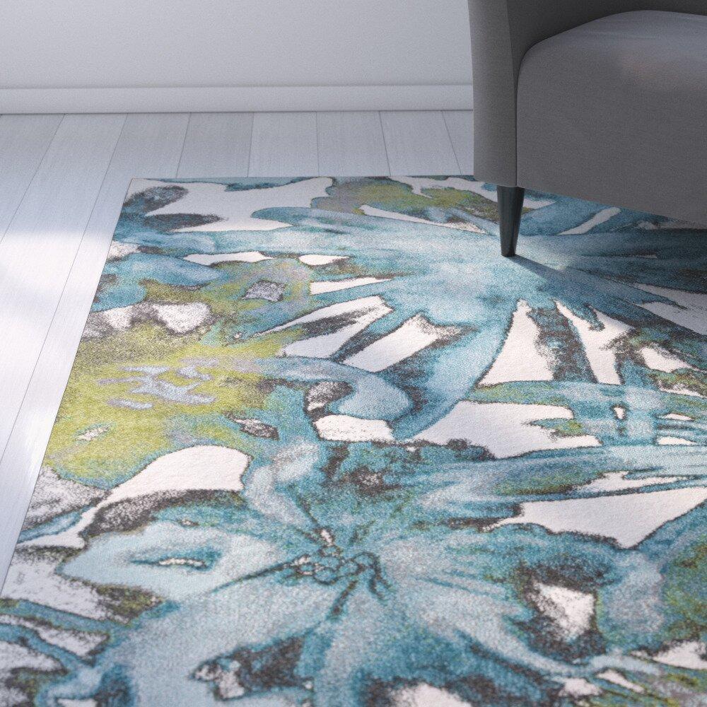 Zipcode Design Audrina Teal Floral Area Rug & Reviews