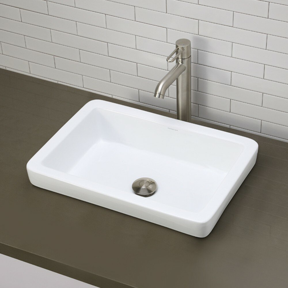 Decolav classically redefined semi rectangular vessel - Rectangular vessel bathroom sinks ...