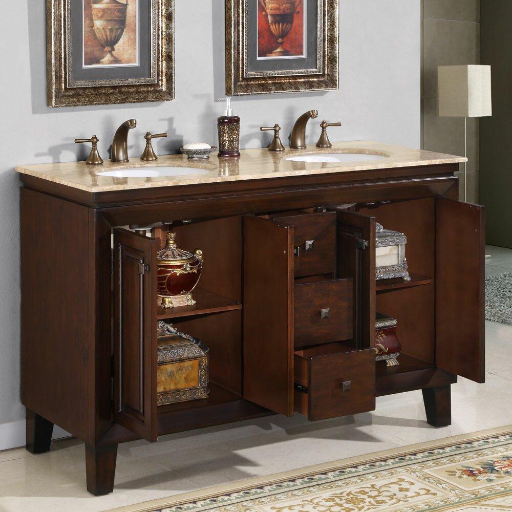 Silkroad Exclusive Jessica 55 Quot Double Bathroom Vanity Set
