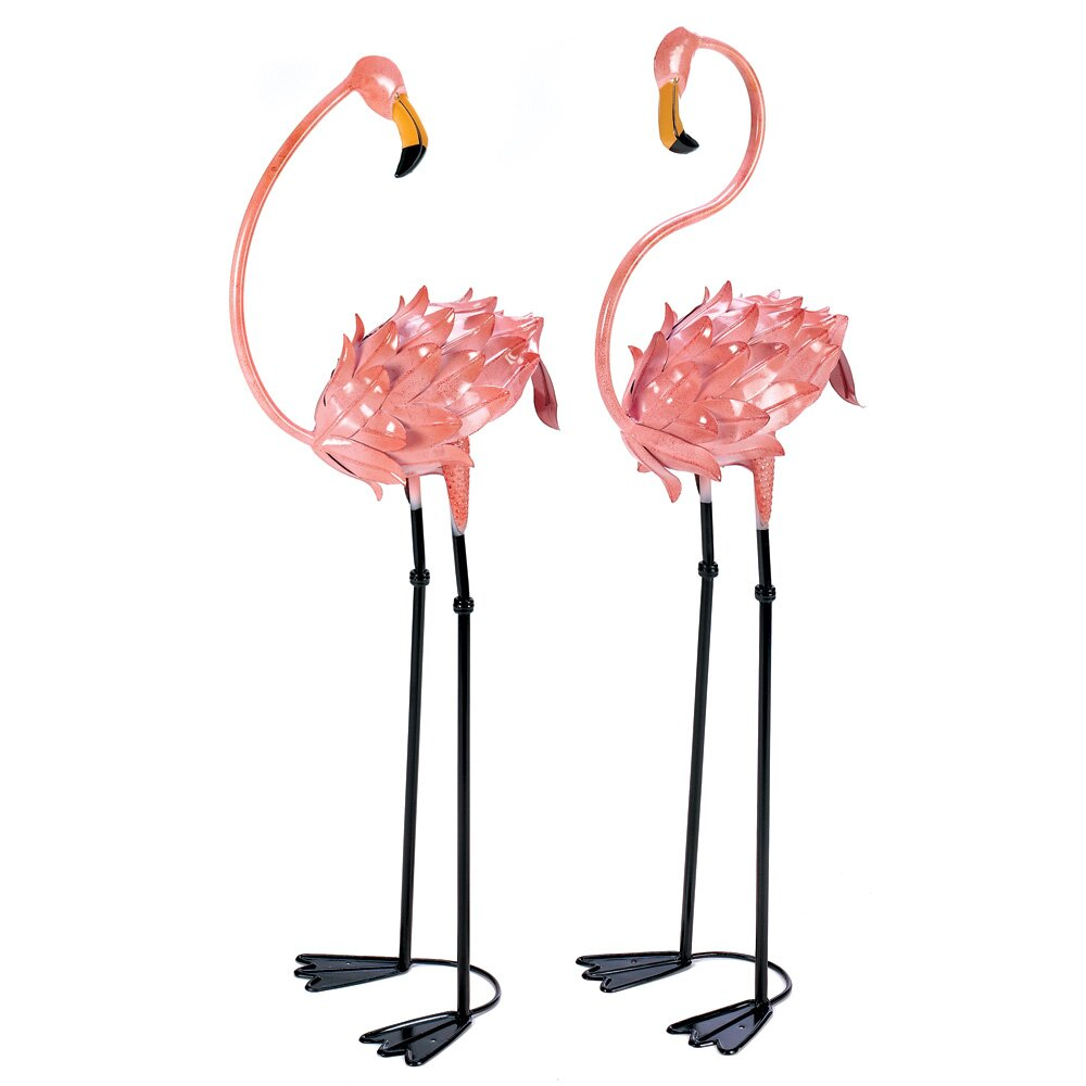 Flamingo garden ornament - Flamboyant 2 Piece Flamingo Garden Stake Set