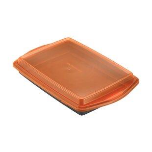 Covered Cake Pan in Pewter & Orange