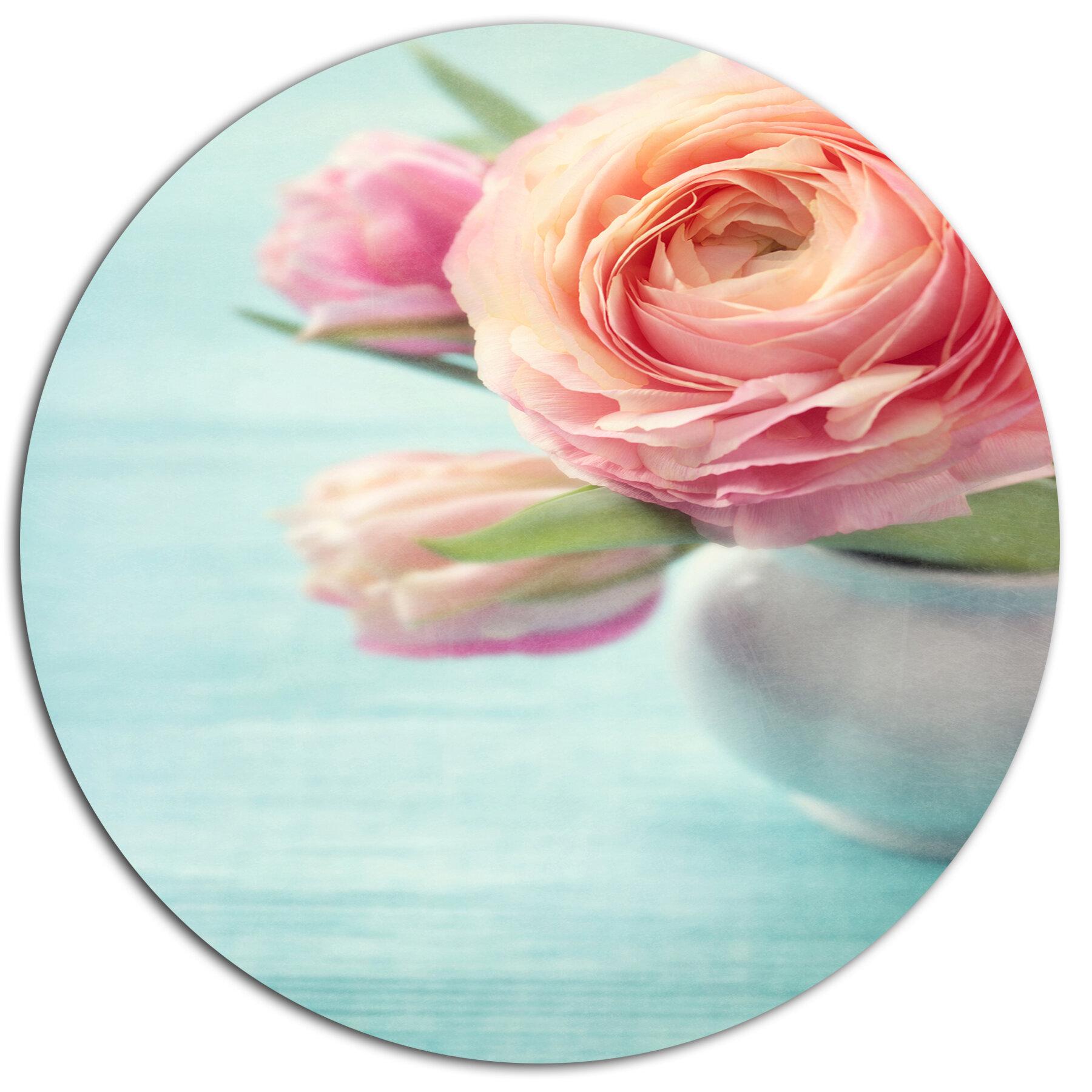 Designart Beautiful Pink Flowers In Vase Oil Painting Print On Metal Wayfair