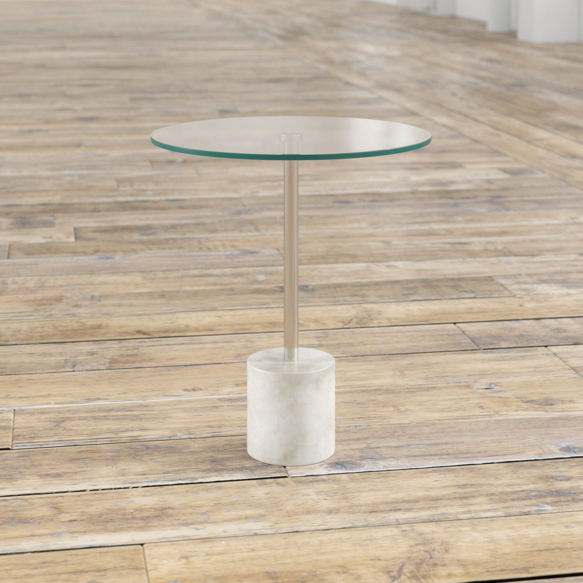 Mercury Row Richlands Glass Top Pedestal End Table Reviews Wayfair