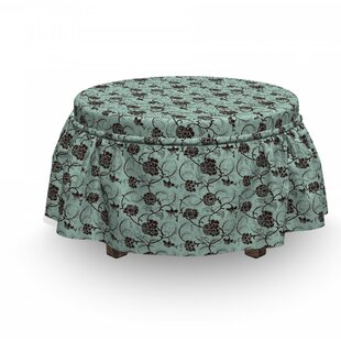 Chinese Curlicue Flowers Ottoman Slipcover (Set of 2) by East Urban Home