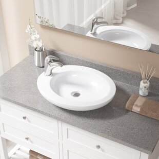 MR Direct Vitreous China Oval Vessel Bathroom Sink with Faucet
