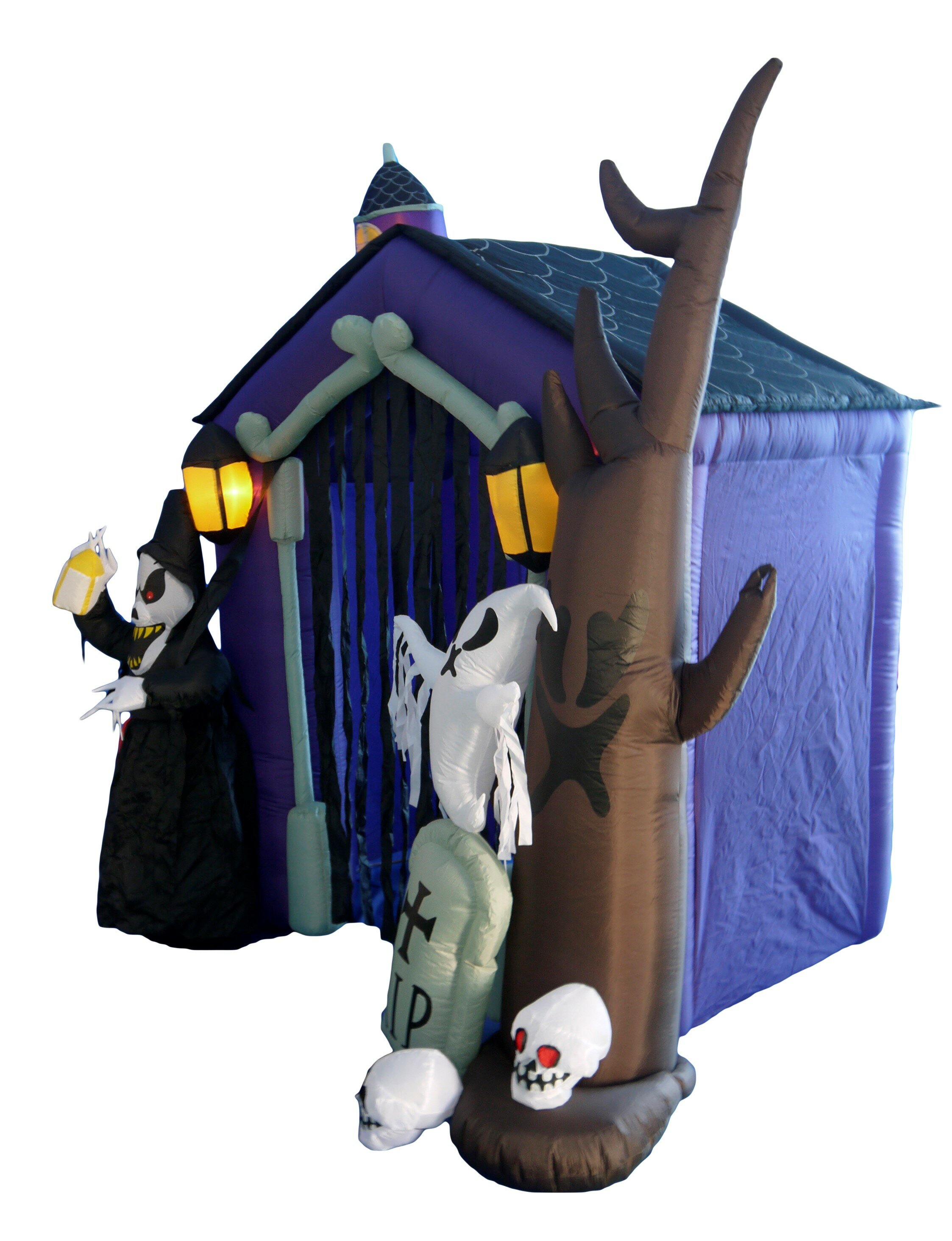 the holiday aisle halloween inflatable haunted house castle with skeletons reviews wayfair