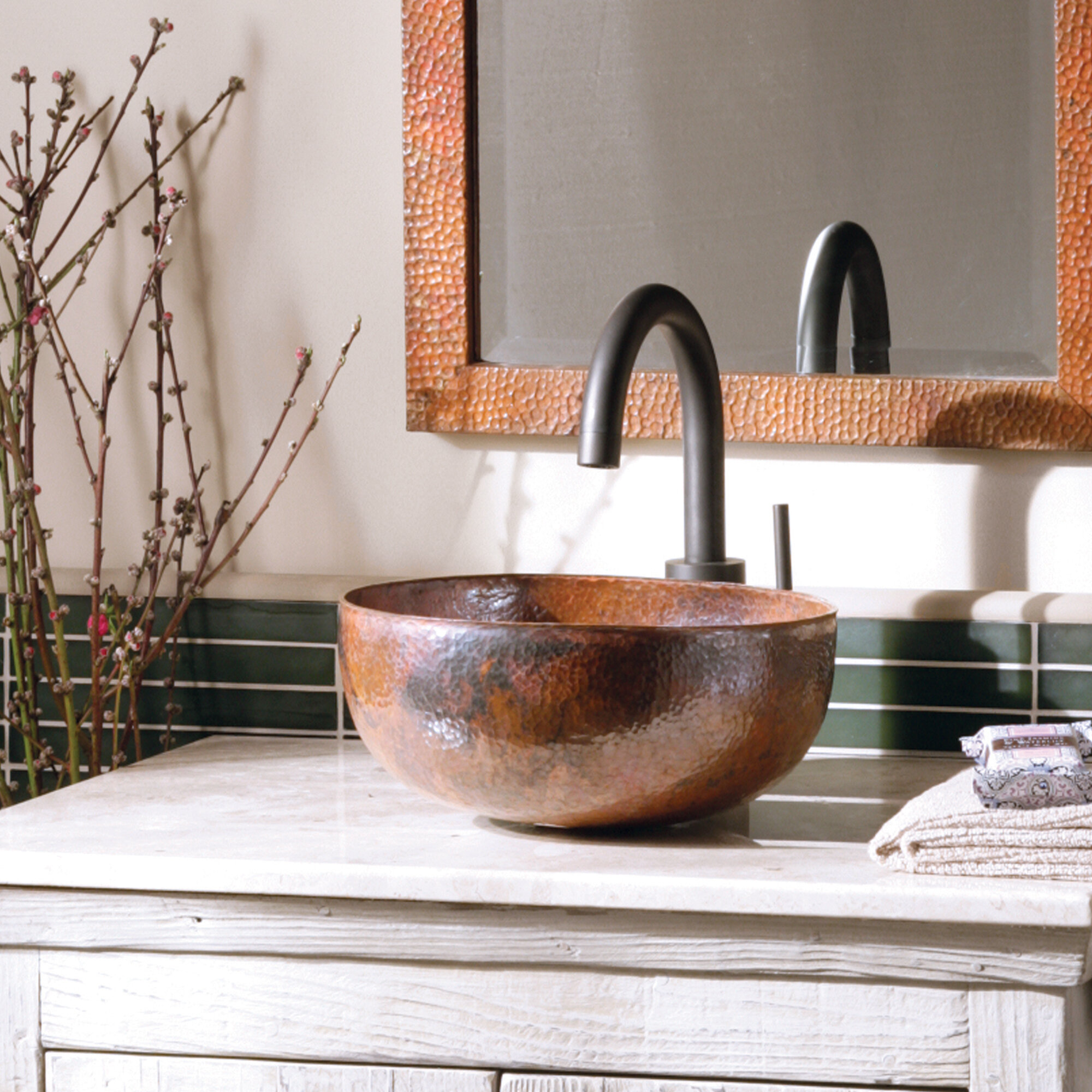 Native Trails Maestro Tempered Copper Metal Hand Hammered Circular Vessel Bathroom Sink Reviews Wayfair