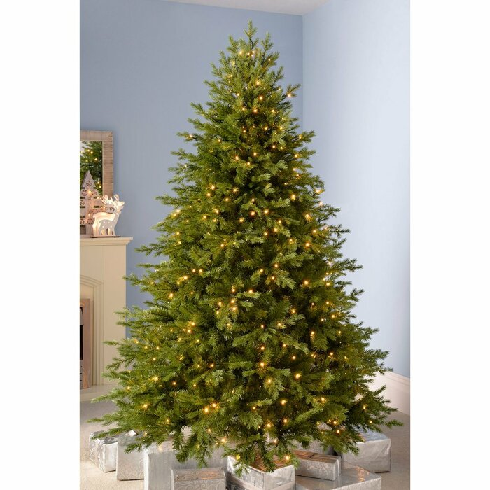 9ft Christmas Tree.Grand Alaskan Multi 9ft Green Fir Artificial Christmas Tree With 800 Clear White Lights With Stand