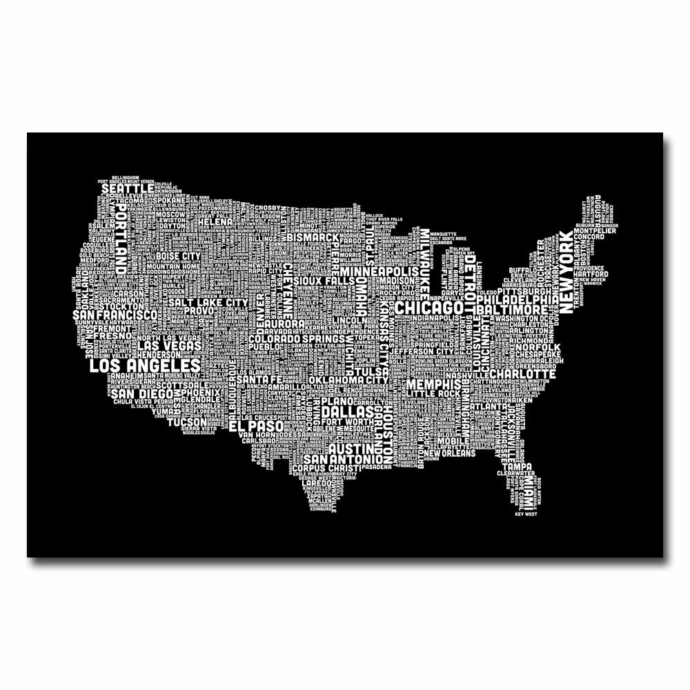 Trademark Art Us City Map B W By Michael Tompsett Textual Art On Wrapped Canvas Wayfair