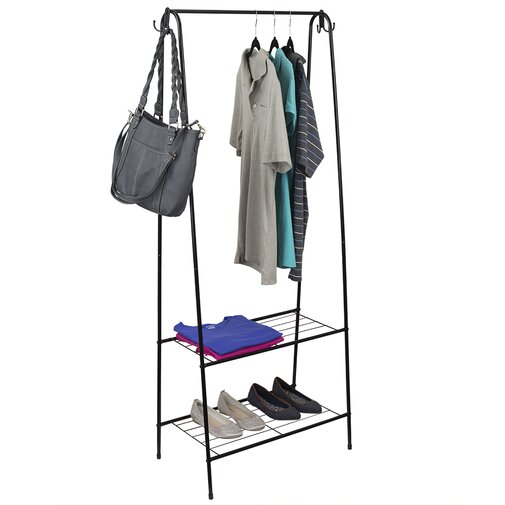 2 Shelves Freestanding Garment Rack