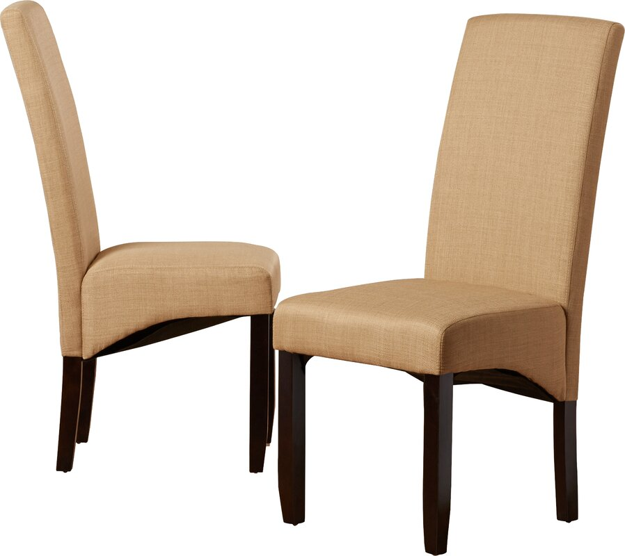 Andover Mills Pandora Linen Upholstered Parsons Chair in Khaki (Set of 2)