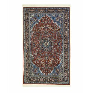 Sarouk Hand Knotted Rust Blue Area Rug
