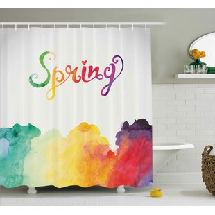 Joshua Quote Spring Lettering With Rainbow Fog Like Ombre Colored Romantic Modern Image Single Shower Curtain