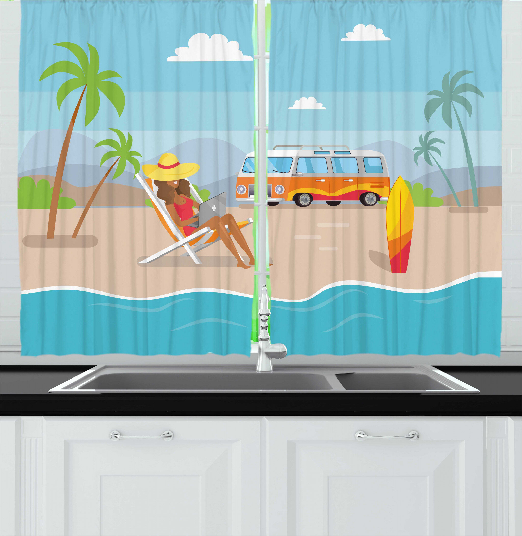 East Urban Home 2 Piece Graphic Beach Woman With Laptop At Tropic Coast With Happy Camper Van And Surfboard Kitchen Curtain Set Wayfair
