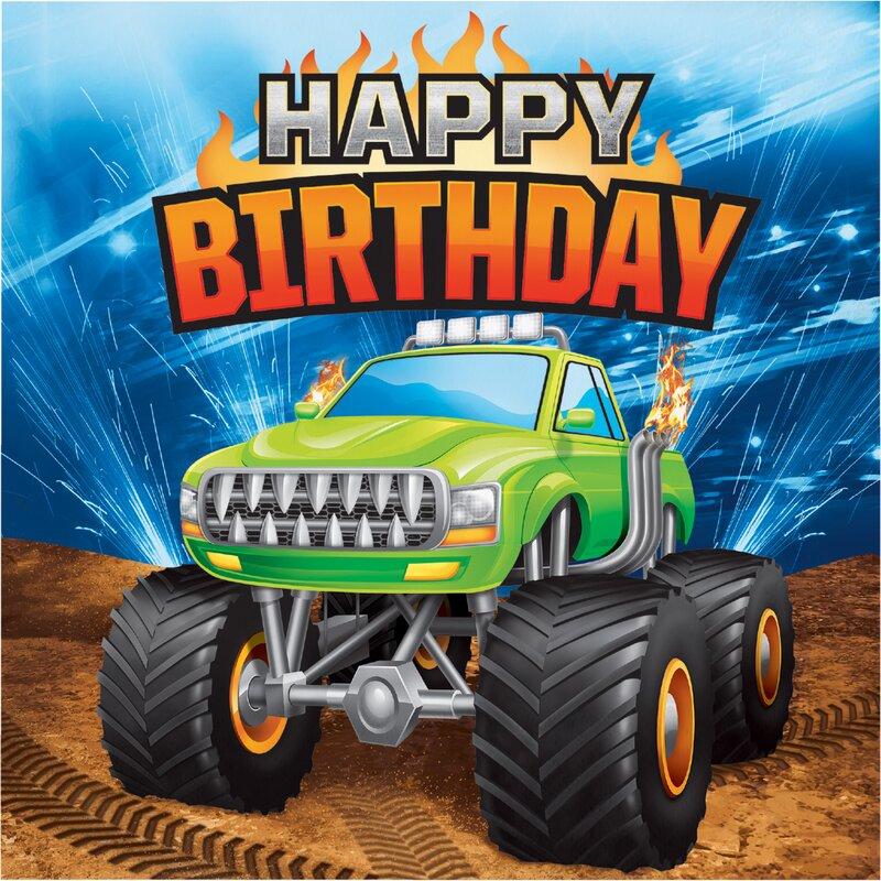 Monster Truck Happy Birthday 65 Napkin