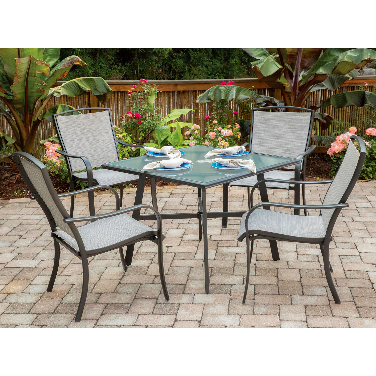 Charlton Home Wrenn 5 Piece Commercial Grade Patio Dining Set With 4 Sling Dining Chairs And A 38 Square Glass Top Table Wayfair