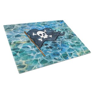 Under Water Glass Pirate Flag Cutting Board By Caroline's Treasures