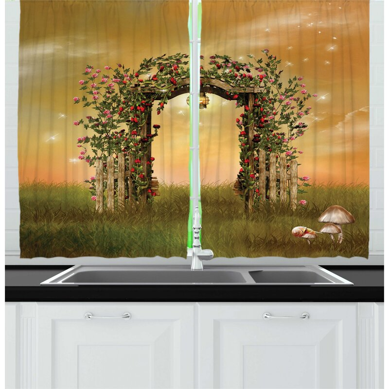 East Urban Home 2 Piece Fantasy Rustic Door With Burgeoning And Blossoming Flowers On Wooden Fence Kitchen Curtain Set Wayfair