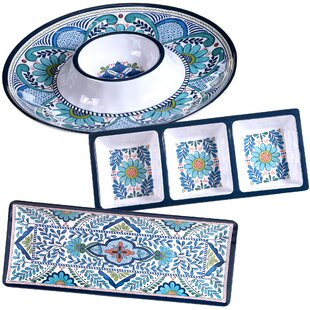 Talavera 3 Piece Heavy Weight Melamine Hostess Set