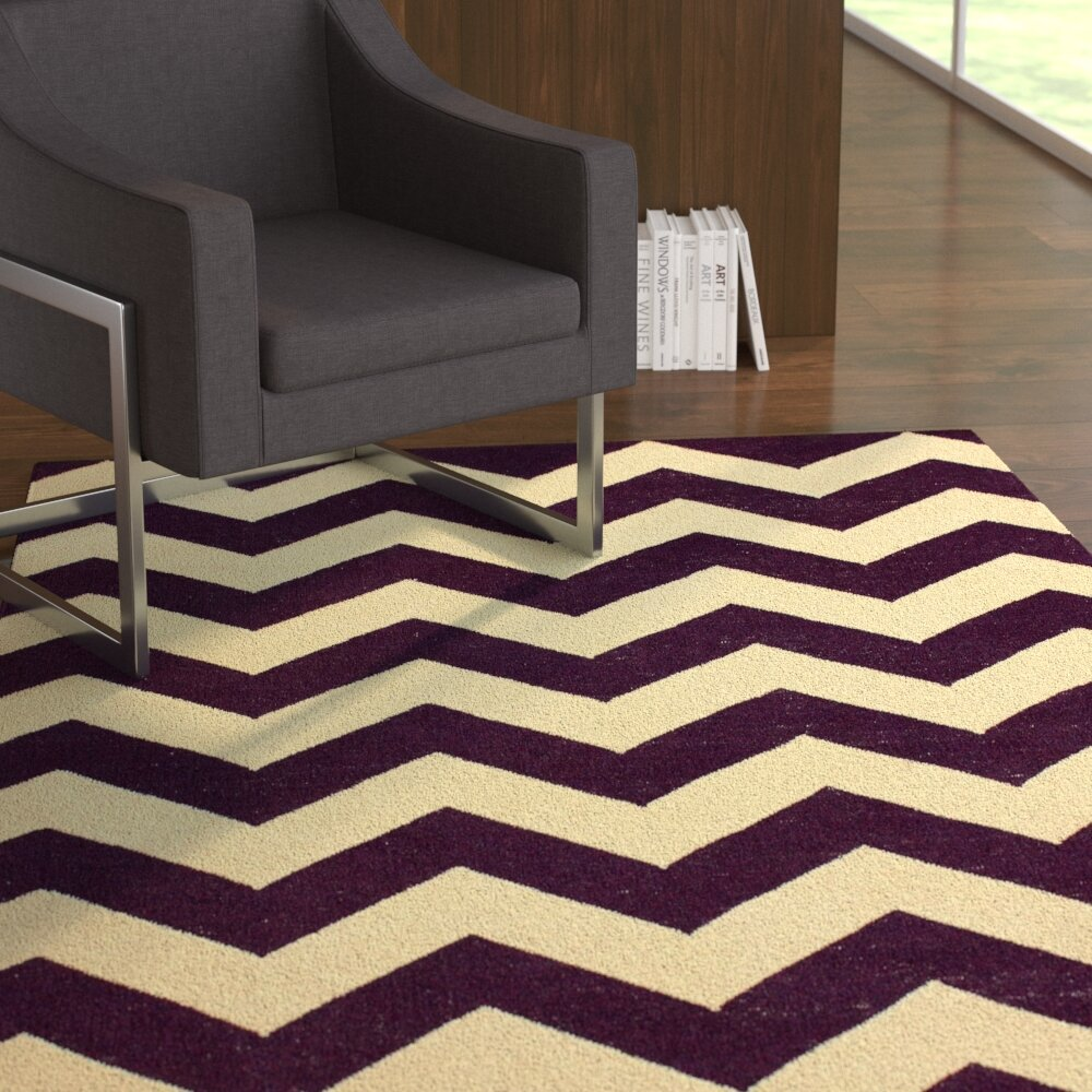 Latitude Run Panama Purple Chevron Area Rug Wayfair