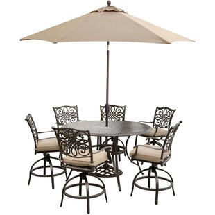 Carleton 7 Piece Metal Bar Set with Cushions