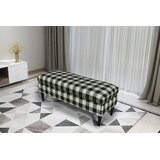 Gracie Oaks Bradford Large Decorative Bench With Pillow Top in , Woven Charcoal Plaid by Gracie Oaks